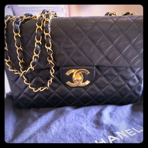 Vintage Chanel Lambskin XL Jumbo Flap Bag